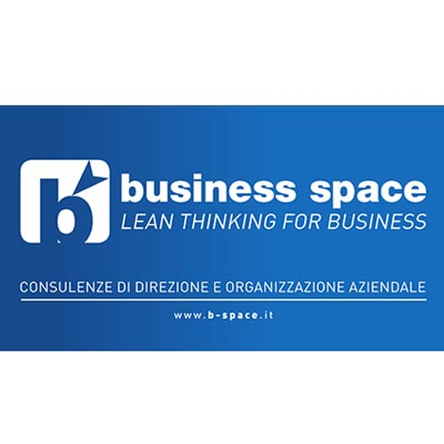 logotipo blu e bianco business space