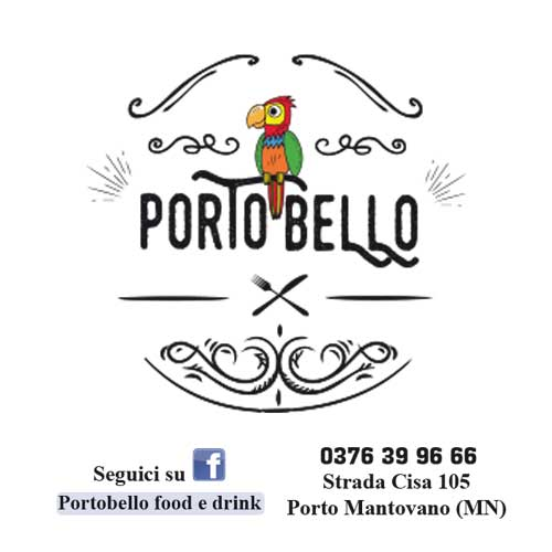 logo portobello food and drink che raffigura un pappagallo colorato